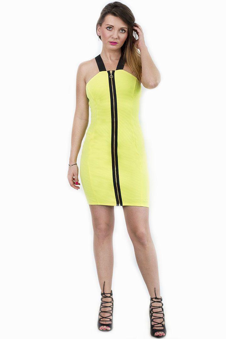 Sukienka dopasowana bodycon neonowa
