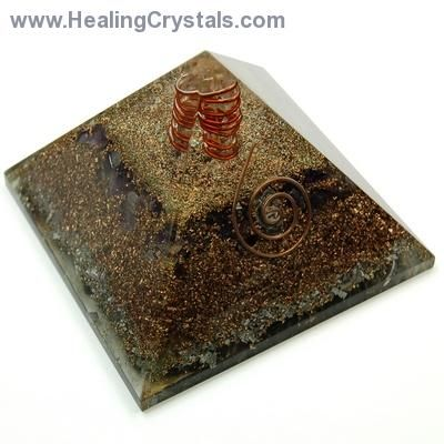 """Pyramid - Orgonite Pyramids- - Orgonite can work remarkably well on balancing all of the chakras, cleansing the aura & therefore improving both mood & health. It is often used to combat the effects of electromagnetic pollution or """"smog"""" that arises out of electrical devices in & around our homes. Place a pyramid in your garden & notice the healthy growth that your plants/flowers/trees will experience. Feel free to use code HCPIN10 for 10% off your order"""