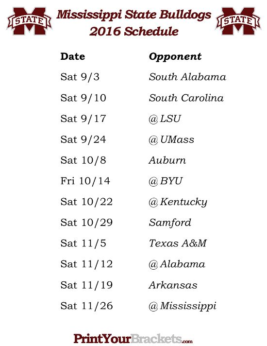 Printable Mississippi State Bulldogs Football Schedule 2016