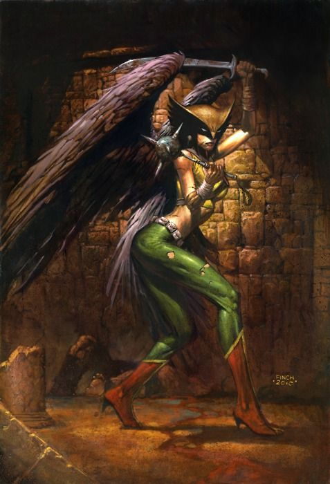 Hawkgirl, a warrior who hasn't yet broken  her neck because of her heels, love her weapons in this pic :)