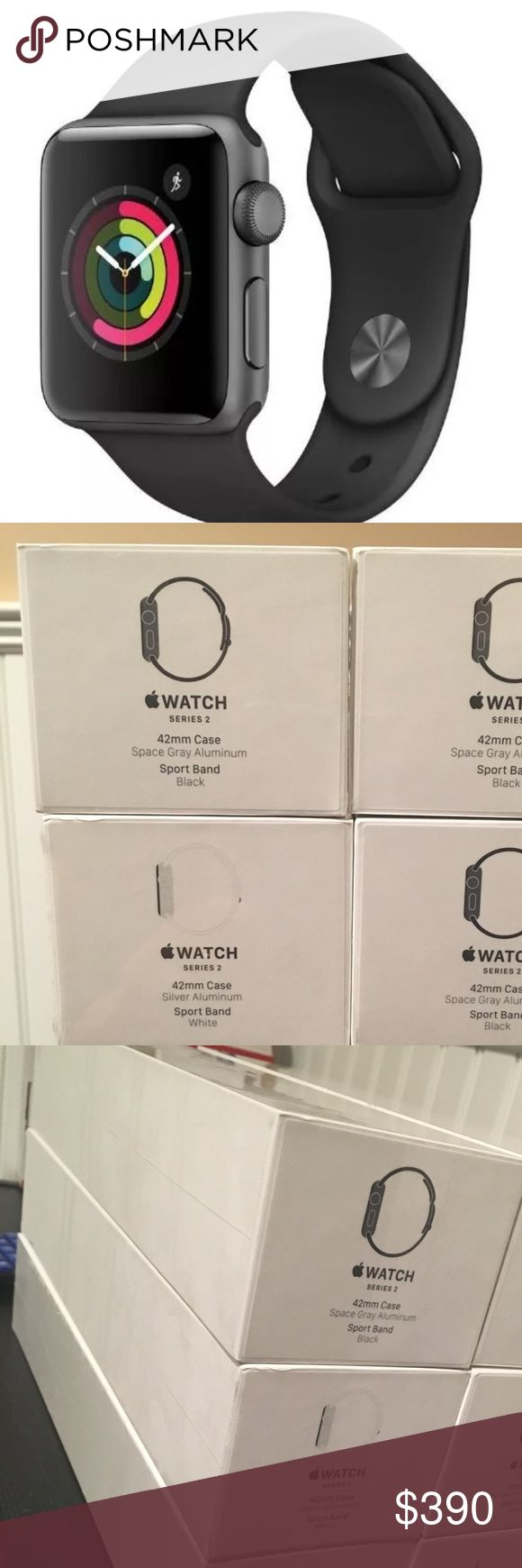 New Apple Watch 42mm Series 2 Space Grey in Box New Apple Watch Space Grey 42mm Gen.2 Series 2 never opened sealed package. Comes with Black sport band. Get a brand new Apple Watch in Sealed Box, i ship fast and secure trusted seller with more than 300 complete transactions here in Posnhmark. The last generation of Apple watch comes with new features like gps, waterproof, brighter screen and more. Also i offer bands for these watches to update look and elegance. Thank you and please no…