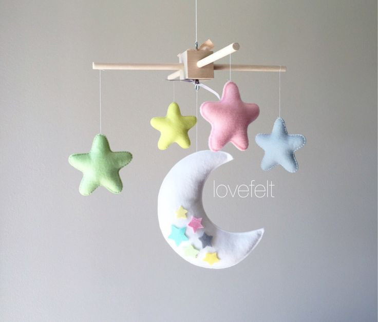 Baby mobile - moon mobile - moon and stars mobile - pink yellow mobile - you can choose your colors by lovefeltmobiles on Etsy https://www.etsy.com/listing/461872450/baby-mobile-moon-mobile-moon-and-stars