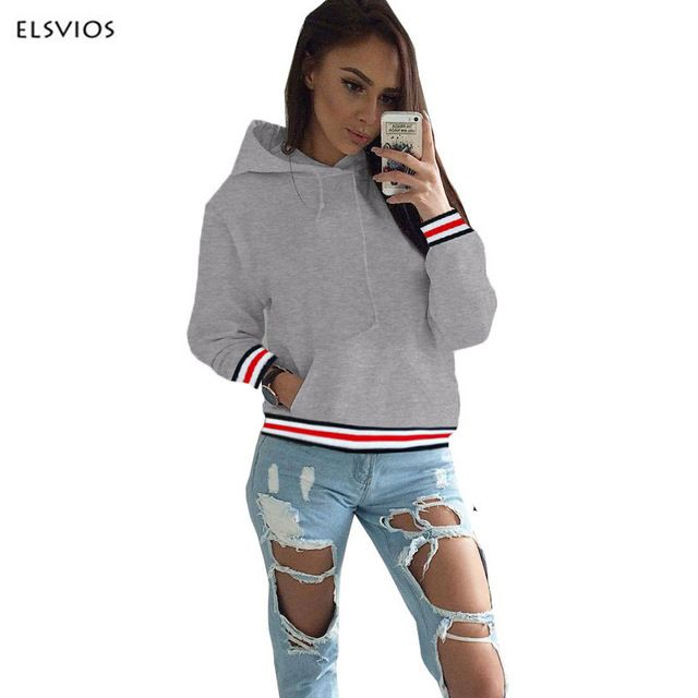 ELSVIOS 2017 Autumn Winter Women Strip Patchwork Hoodies Sweatshirt Femme Casual solid Hooded Pullover Hoodie Mujer Female Hoody #Brand #ELSVIOS #sweaters #women_clothing #stylish_dresses #style #fashion