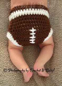 free printable crochet hat patterns | Ravelry: Football Hat and Diaper Cover Set pattern by Crochet It Baby