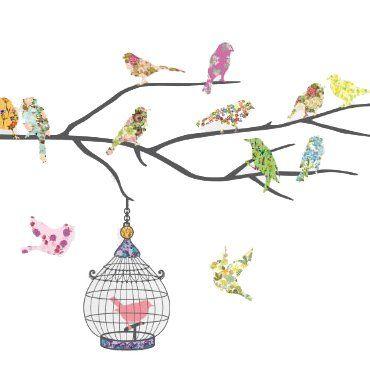 Muurstickers 14 Vrolijke vogels met kooi van het merk Decowall hier online kopen. Leuke muurstickers met kleurrijke vogels op een tak en een kooi.