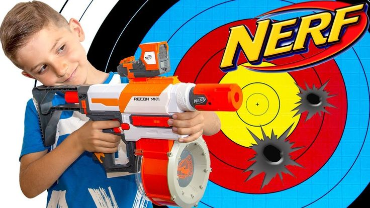 Learn Colors With NERF GUN Shooting GAME - Colour Learning For Kids with...