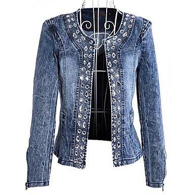 Mulheres+mais+tamanhos+Hot+Denim+Drilling+Blazer+–+BRL+R$+73,48