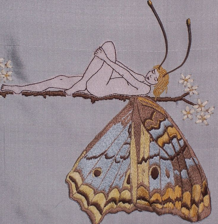 Pattern Hand Embroidery Butterfly Girl Hand Embroidered от Taetia