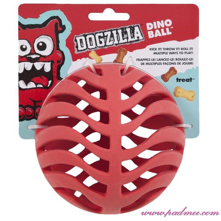 """""""Dogzilla Dino Ball""""   Balle à Friandise    29E  OU   Balle à friandises de 15 cm, en caoutchouc ultra-résistant. Résistant à la mastication agressive, parfumé au poulet - vanille."""
