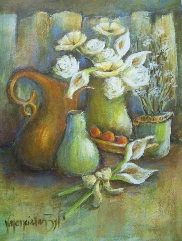 Still life with mixed flowers - artist - Valencia Van Zyl