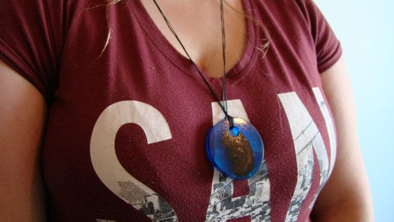 Blue disc necklace by TinyHouseTreats on Etsy