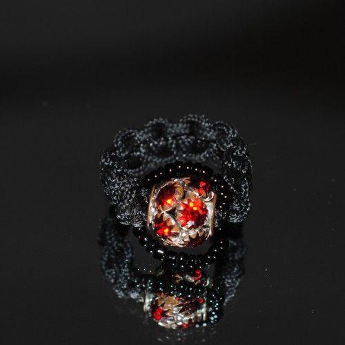 Unique handmade macramé Ring, Βlack cord, Black beads, 2cm. diameter http://reignofknots.com/index.php?route=product/category&path=17
