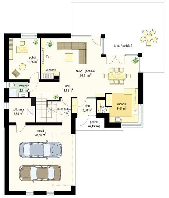Projekt domu Viking 4 - rzut parteru