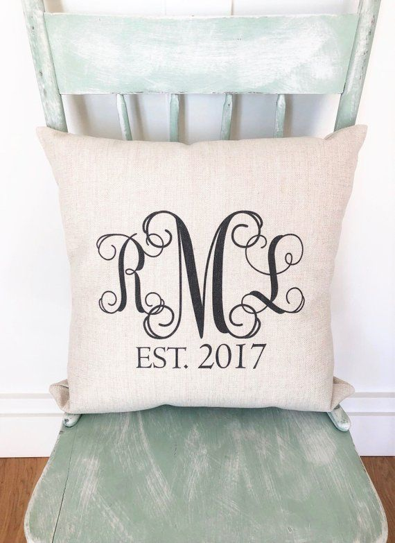 Monogram Pillow Cover Personalized Pillow Cover Monogram Wedding Gift Engagement Present Farmhouse Housewarming Gift Cushion Cover Monogram Pillows Personalized Pillows Pillows