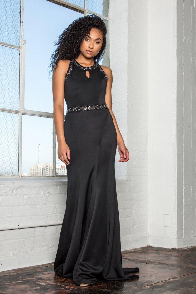 146148005f Long black formal dress gls 2303