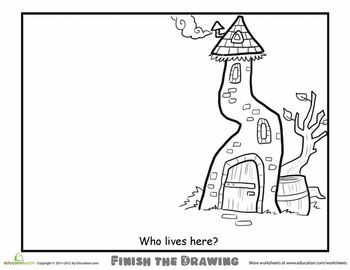 Worksheets: Finish the Drawing: Who Lives Here?