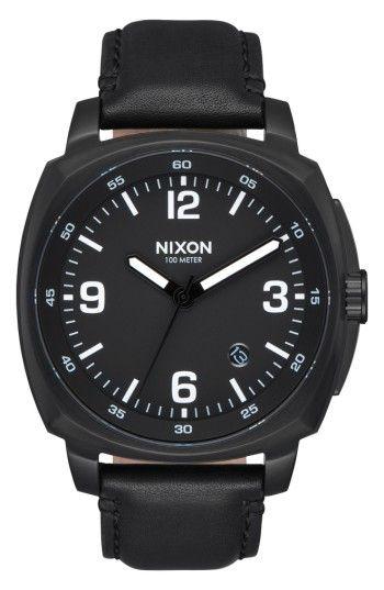 NIXON MEN'S NIXON CHARGER LEATHER STRAP WATCH, 42MM. #nixon #