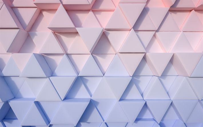 Download wallpapers triangles, 3d art, 4k, wall, creative, geometric shapes