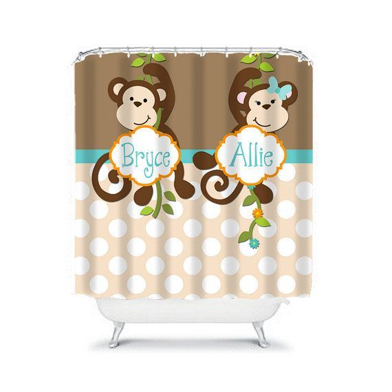 Monkey SHOWER CURTAIN Custom Monogram Personalized Monkey Bathroom Brother Sister Bathroom Beach Towel Plush Bath Mat Made in Usa