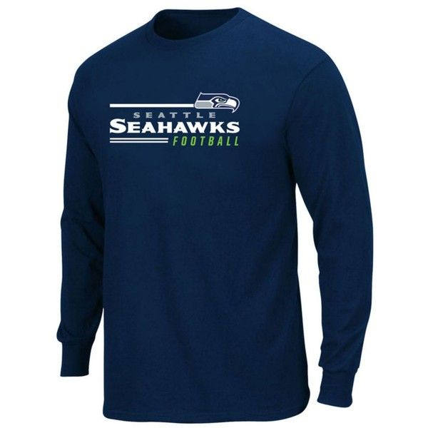 Profile Men's Seattle Seahawks Line of Scrimmage Big & Tall T-Shirt featuring polyvore, men's fashion, men's clothing, men's shirts, men's t-shirts, navy, mens long sleeve cotton shirts, mens sports t shirts, old navy mens shirts, mens long sleeve t shirts and big tall mens shirts