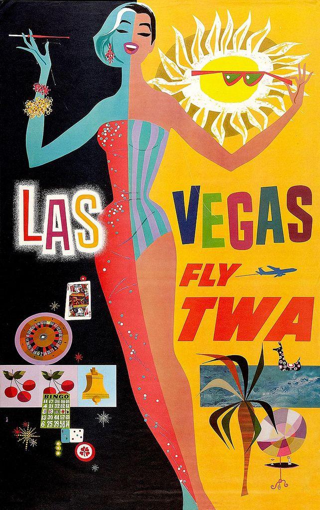 Vintage TWA Poster — Las Vegas (artist unknown)