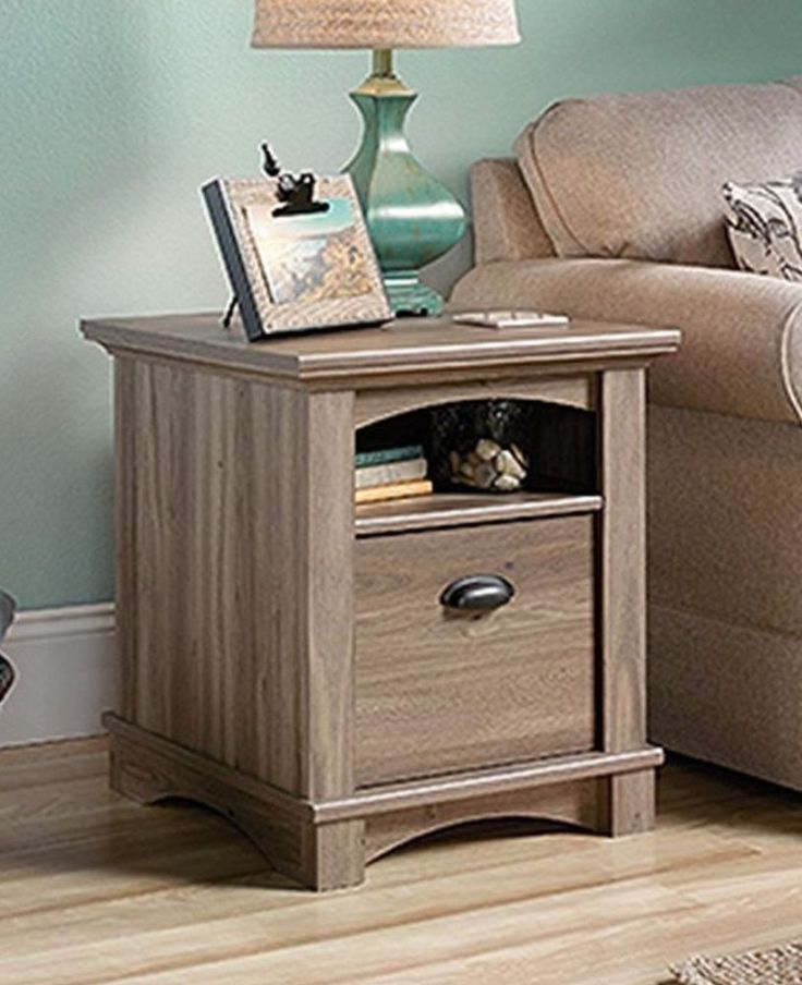 Side End Table With Storage Wooden Nightstand In Salt Oak Finish Home Decor #table