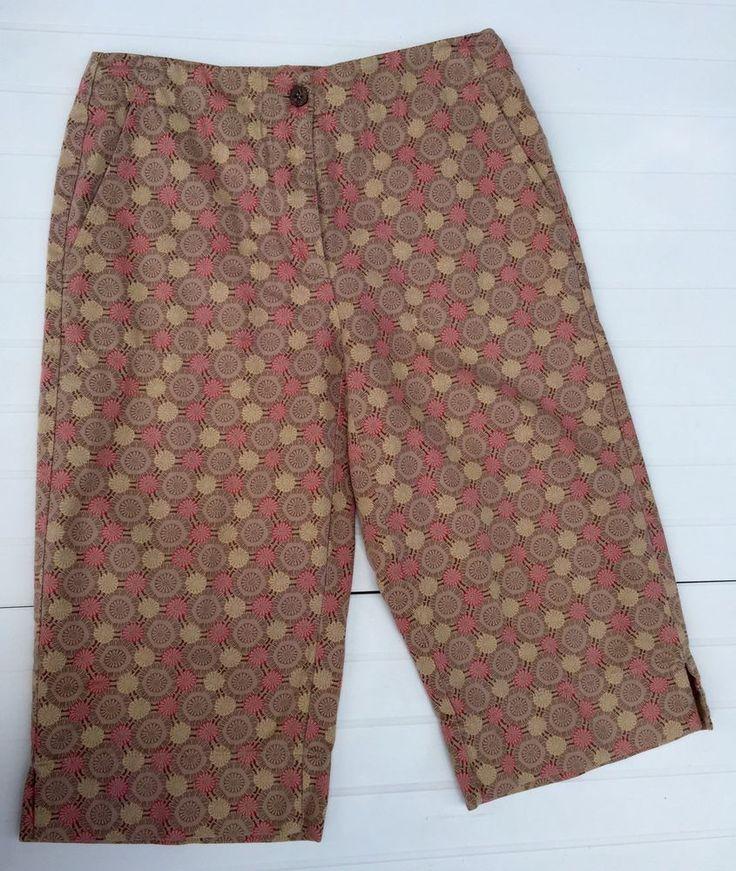 Liz Claiborne Lizsport Petite Women's Cotton Tan Floral Capri Walking Shorts 6P  #LizClaiborne #ShortsCapri