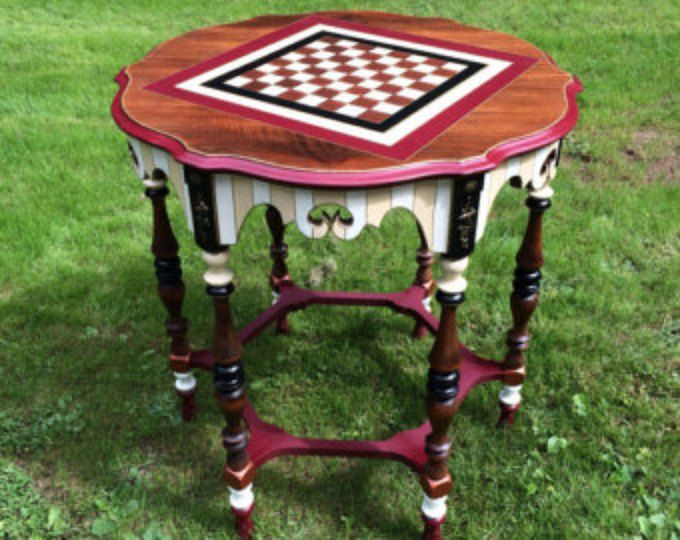 Whimsical Painted table // Whimsical Painted Furniture // Painted Game Table