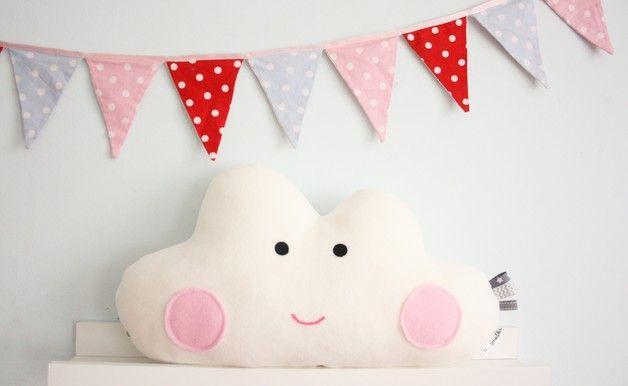 Kuscheliges Wolkenkissen, niedliches Geschenk für die Geburt oder Taufe / cute and cuddly cloud cushion, perfect gift for a newborn by Karmelki-by-Ania via DaWanda.com