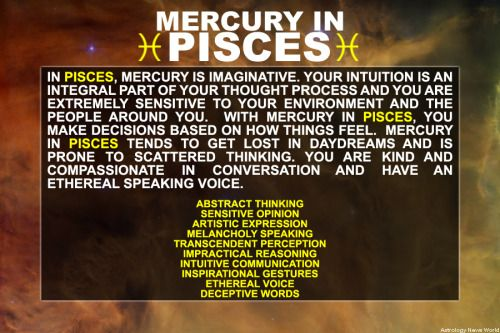 Mercury in Pisces - Sign up here to see more: http://bit.ly/1dqeH58