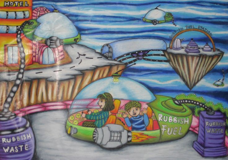 'Recycling Rubbish Car' by Akmal Irfan Maulana, Age 8, Indonesia: 4th Contest, Silver #KidsArt #ToyotaDreamCar