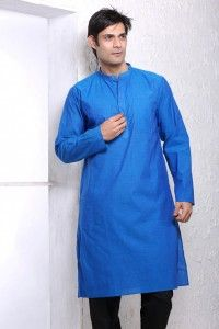 - True Blue Handloom Cotton Kurta with Button Closure - 21% Discounts + Free Shipping - Casual gets just a little cooler with this True Blue Handloom Cotton long Kurta with Full Sleeves and Button Closure at neck.  - The Kurta can be paired with pyjamas as well as jeans for a casual look.