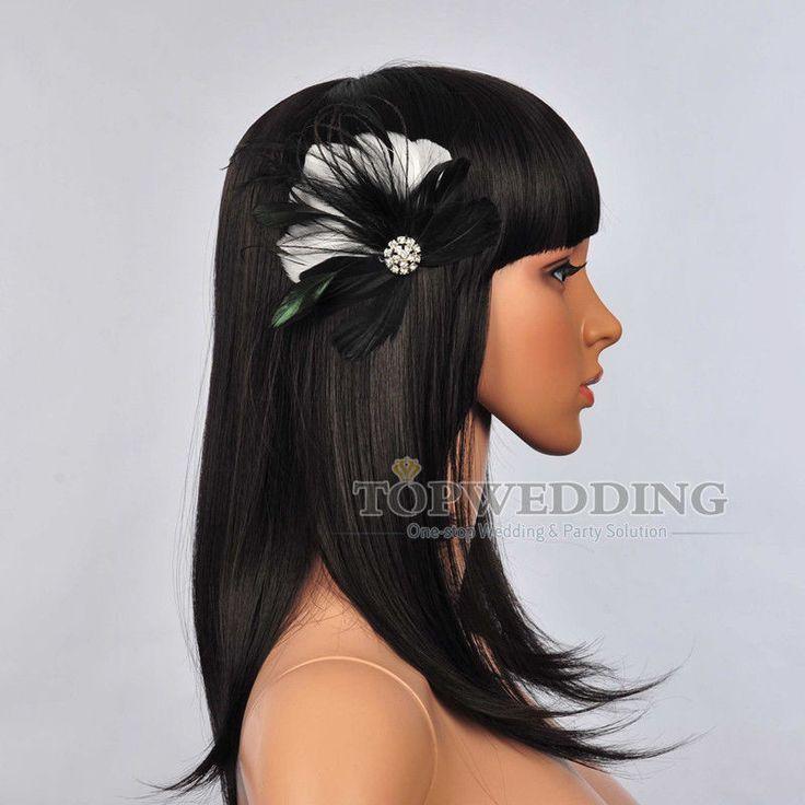 New Rhinestone Feather Bridal Clip Hair Flower Comb Fascinator Wedding Headband