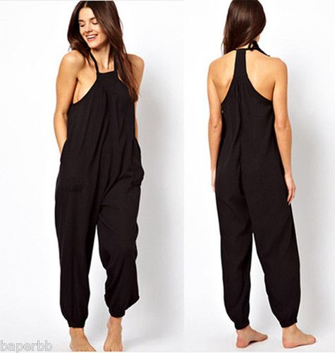 Halter Jumpsuit Harem Overall Loose Pants | My Style Pinboard | Pinterest | Loose pants and Harems