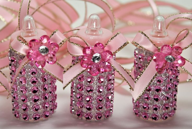 Pink Baby Bottle Necklace, 6 pieces , Baby Shower Games, Baby Shower Decorations, Party Favors, Bling Keepsakes, Bling Party. $20.00, via Etsy.