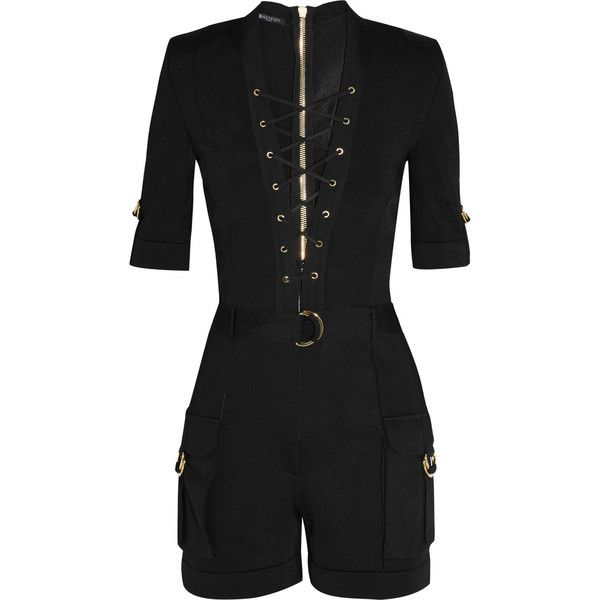 Balmain Lace-up stretch-knit playsuit ($2,631) ❤ liked on Polyvore featuring jumpsuits, rompers, jumpsuit, playsuit, balmain, dresses, black, embellished jumpsuit, playsuit romper and plunge romper