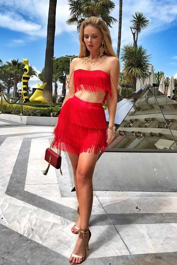 6a694917e2c White Bandage Tassels Tops & Skirts 2 Two Pieces Set in 2019 ...