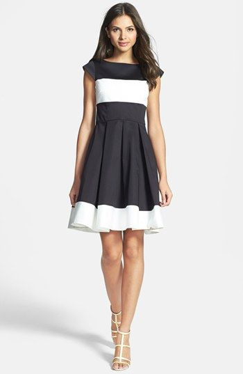 kate spade new york 'adette' colorblock woven fit & flare dress available at #Nordstrom