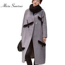 Женщины Зима Полушерстяные Плащ 2016 Длинные Шерстяные Верхняя Одежда Двойной Стороны Шерсти Пальто Траншеи Стеганые Толстые Crane Вышивка Пальто(China (Mainland))