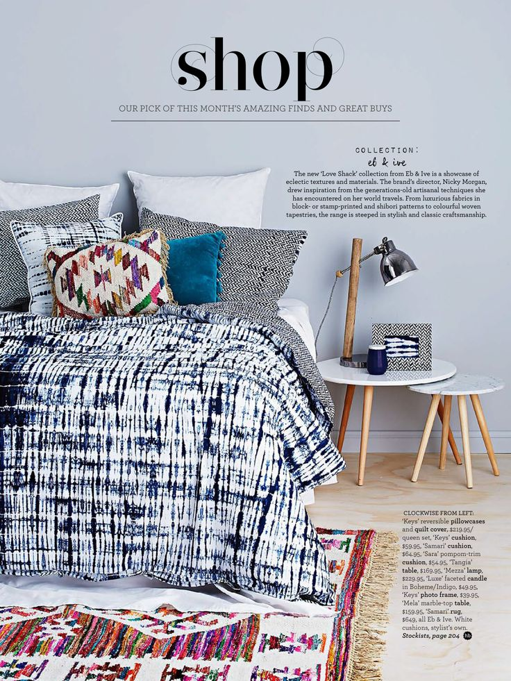 Love Shack by eb&ive featured in Home Beautiful! Products: Keys reversible pillowcases & quilt cover, Keys cushion, Samari cushion, Sara cushion, Tangia table, Mezza lamp, Luxe Faceted candle, Keys photo frame, Mela marble top table, Samari rug. #loveshackbyebandive #ebandivelifestyle  #home #navy #style #lifestyle #homebeautiful