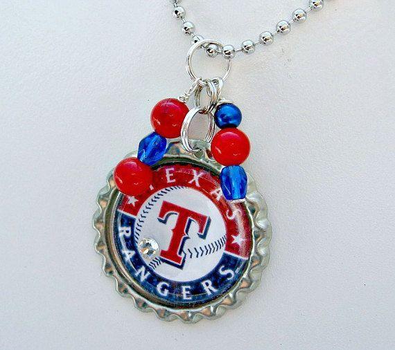MLB Texas Rangers Baseball Necklace by Sports Jewelry Studio on Etsy.  $10.  etsy.com/shop/sportsjewelrystudio