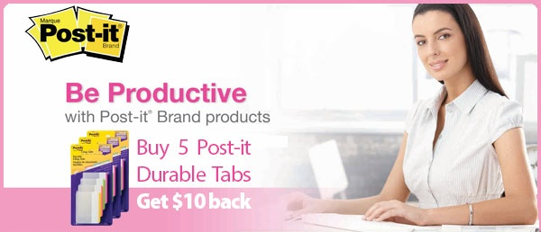 Get $10 back when you purchase 5 #Post-it #Durable #Tabs. Offer valid until May 31, 2013.