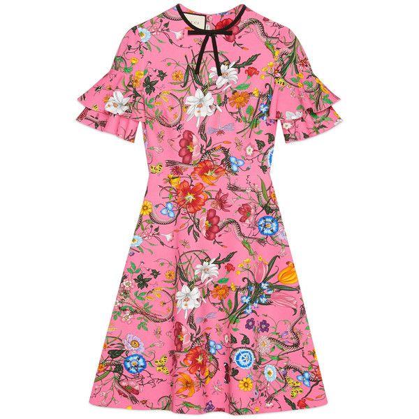 Gucci Flora Snake Print Jersey Dress found on Polyvore featuring dresses, pink, a line dress, gucci dress, ruffled dresses, frilly dresses and jersey dress