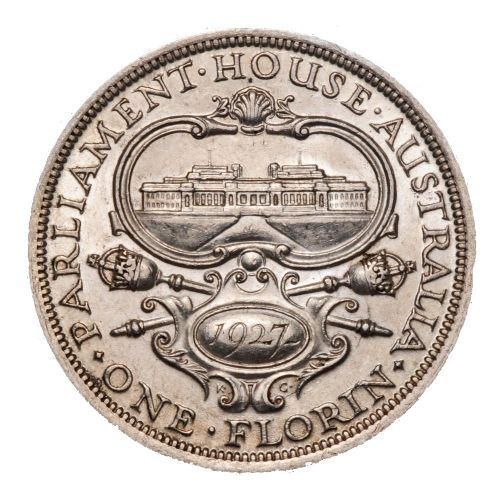 This commemorative florin celebrated the opening of the first Parliament House in Canberra by the Duke of York in May 1927.