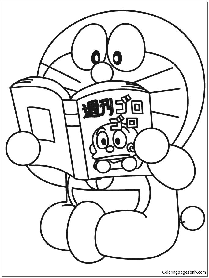 doraemon is reading the book coloring page - Doraemon Colouring Book