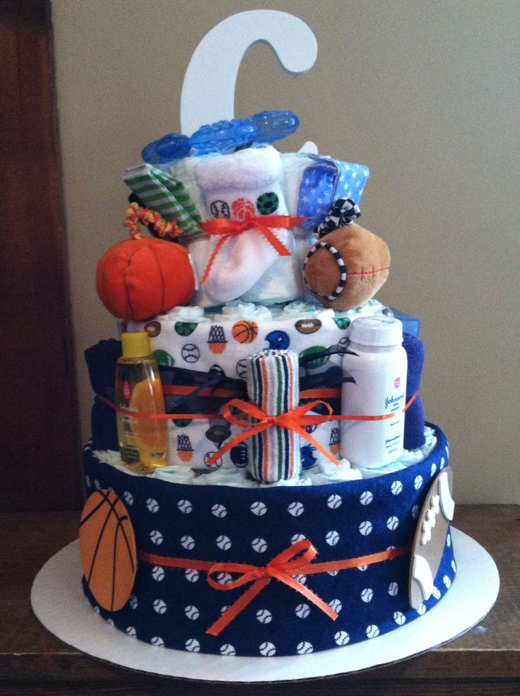 Boy diaper cake sports theme all things baby for Baby boy cake decoration