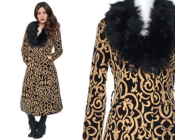 Tapestry Coat 70s Fur Collar Black Gold by GravelGhostVintage
