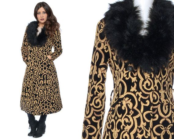 Tapestry Coat 70s Fur Collar Black Gold by GravelGhostVintage