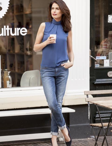 Purdey Mode | Purdey blouse blauw geplooid