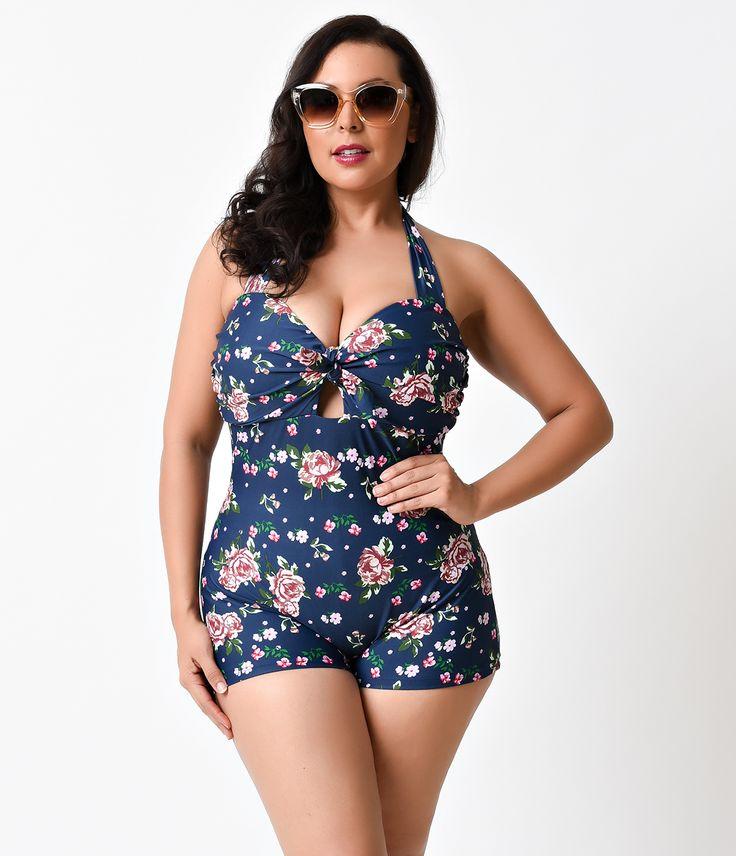 Unique Vintage Plus Size Garbo Navy Floral Retro Halter Swimsuit $88.00 AT vintagedancer.com